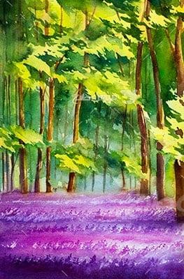 وکتور کاراکتر طبیعت و جنگل بنفش