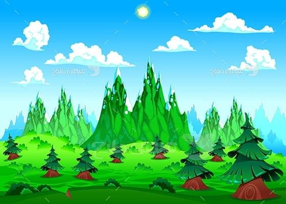 وکتور کاراکتر طبیعت جنگلی
