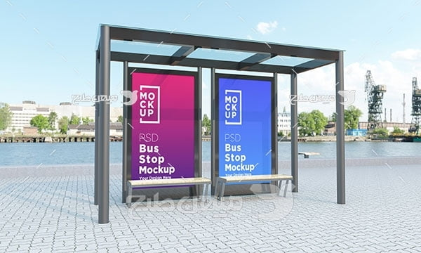 موکاپ طرح بنر رنگی ایستگاه اتوبوس