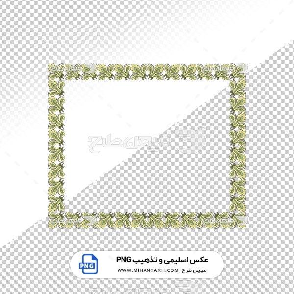 عکس برش خورده اسلیمی و تذهیب قاب حاشیه گل سبز