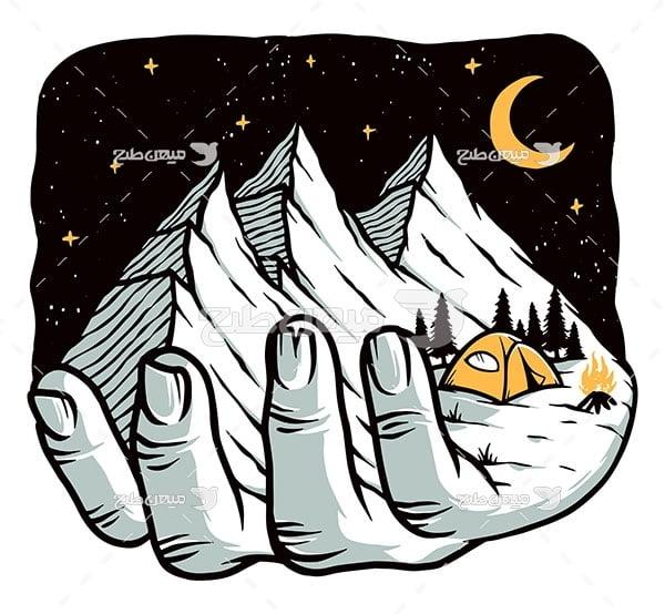 وکتور چادر زدن در کوهستان