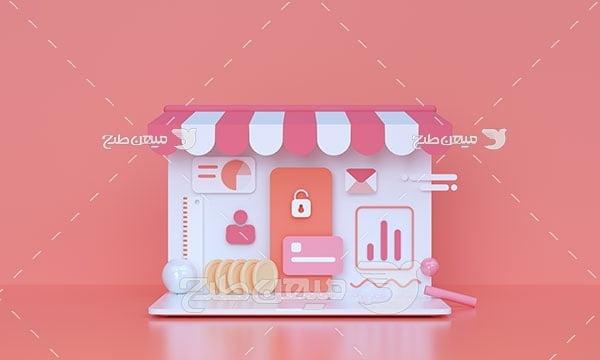 عکس مینیمال سه بعدی فروشگاه مجازی
