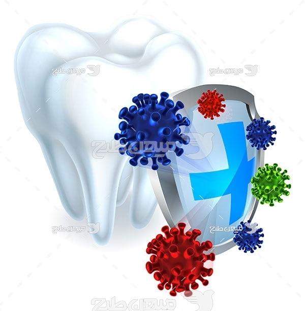 وکتور دندانپزشکی و دندان تمیز