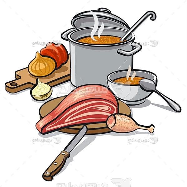 وکتور مواد غذایی پخت و پز