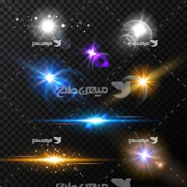 وکتور کاراکتر درخش نورها رنگی