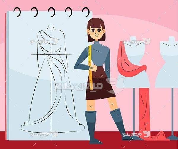 وکتور طراح لباس زنانه