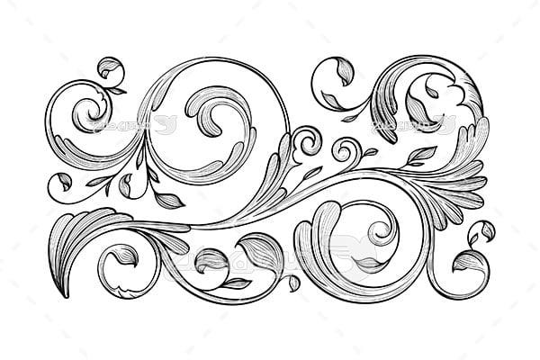وکتور حاشیه اسلیمی و تذهیب گل در هم تابیده