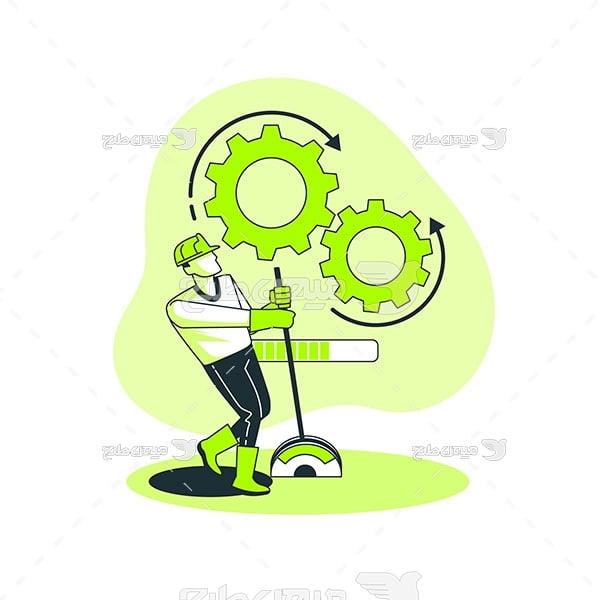 وکتور چرخ دنده های صنعت