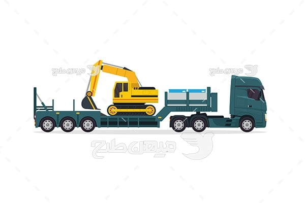 وکتور تریلی حمل ماشین آلات سنگین