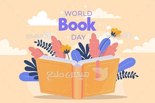 وکتور روز کتاب و کتابخوانی