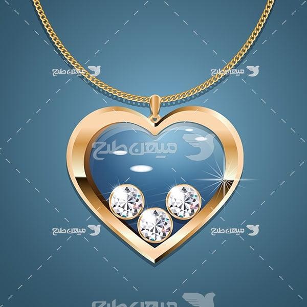 وکتور گردنبند طلا شکل قلب با نگین الماس