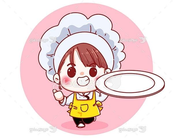 وکتور دختر بچه آشپز