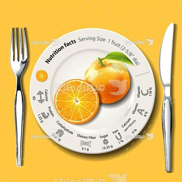 وکتور ارزش غذایی پرتقال