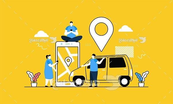 وکتور تاکسی آنلاین شهری