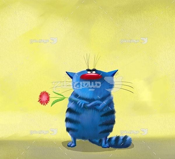 عکس گربه کارتونی غمگین