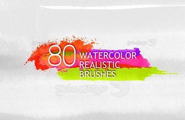 مجموعه ابزارهای فتوشاپ براش طرح آب رنگ