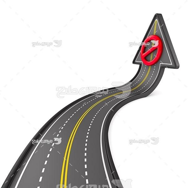 عکس جاده به شکل فلش ورود ممنوع