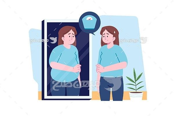 وکتور دختر با اضافه وزن