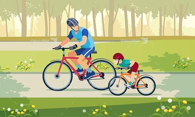 وکتور ورزش و دوچرخه سواری کودکان