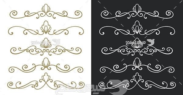 وکتور حاشیه اسلیمی و تذهیب یا پس زمینه سیاه و سفید