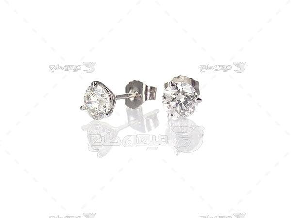 عکس گوشواره نقره با نگین الماس