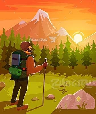 وکتور کاراکتر طبیعت و کوهنورد
