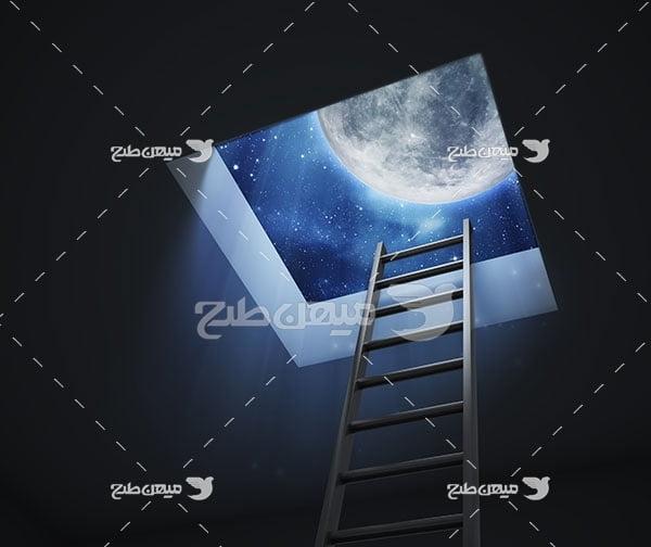 عکس نردبان به سوی آسمان شب