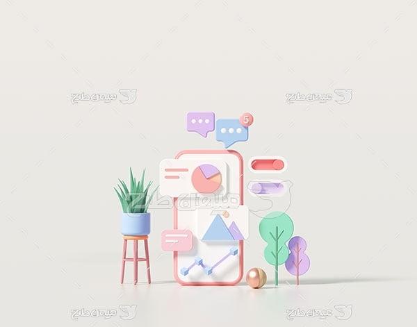 عکس مینیمال سه بعدی دیجیتال مارکتینگ
