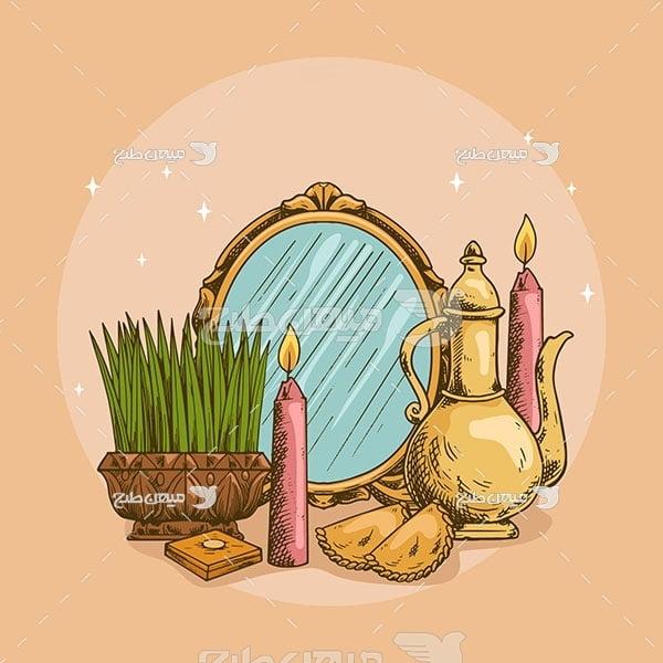وکتور آینه و سبزه عید