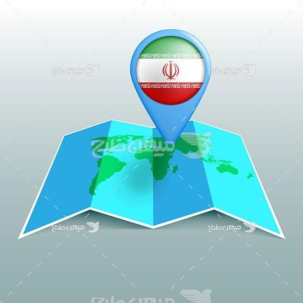 وکتور مقعیت کشور ایران