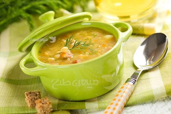 عکس تبلیغاتی غذا ظرف سوپ