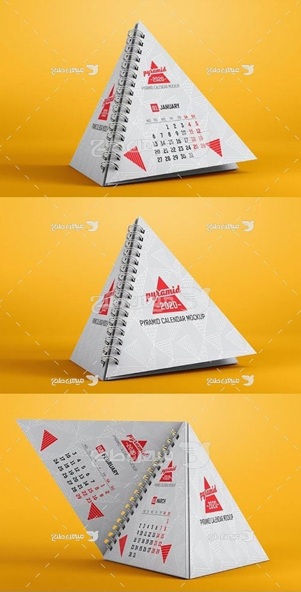 موکاپ تقویم رومیزی مثلثی