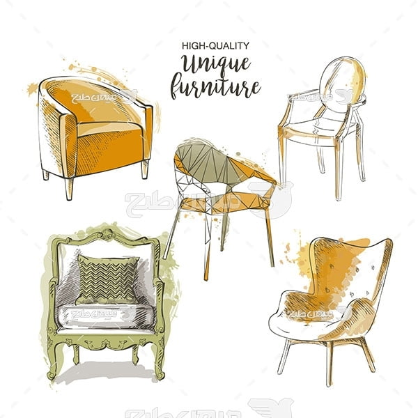 وکتور طرح نقاشی مبل و صندلی