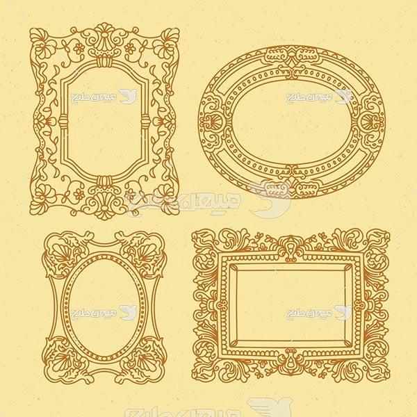 وکتور حاشیه اسلیمی و تذهیب فرم طلایی
