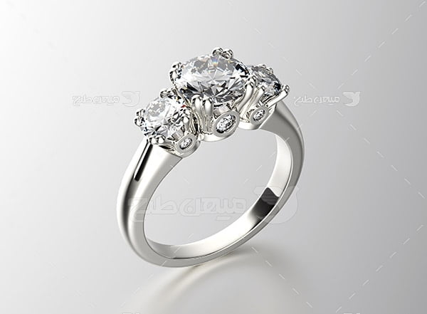 عکس انگشتر نقره با نگین الماس