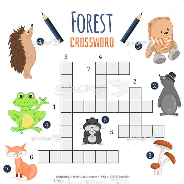وکتور  تمرین جدول حیوانات جنگل به زبان انگلیسی
