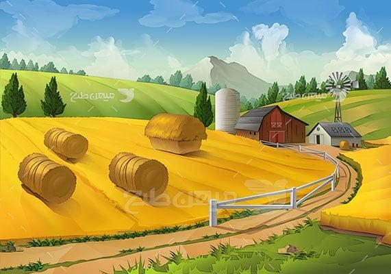 وکتور کاراکتر طبیعت مزرعه