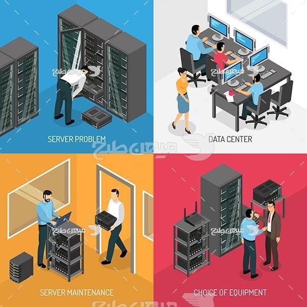 وکتور کاراکتر تعمیر و نگهداری شبکه