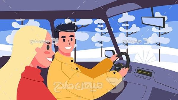 وکتور رانندگی در جاده برفی