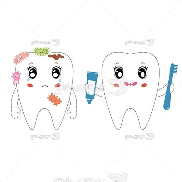 وکتور دندان سالم و خراب