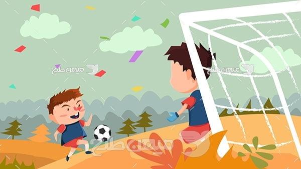 وکتور کاریکاتو فوتبال کودکان