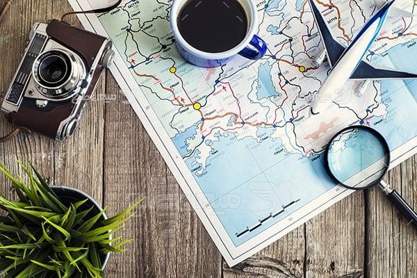 عکس تبلیغاتی مسافرت و نقشه جهان