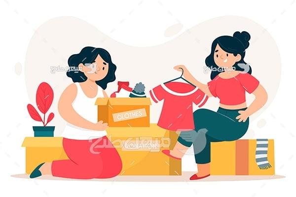 وکتور اهدای لباس