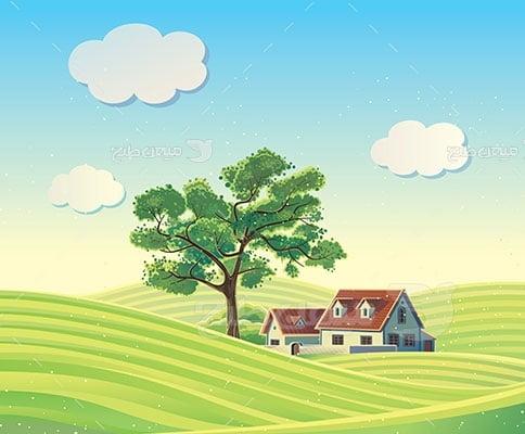 وکتور کاراکتر طبیعت و خانه روستایی