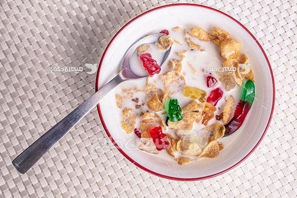 عکس برشتوک صبحانه با شیر