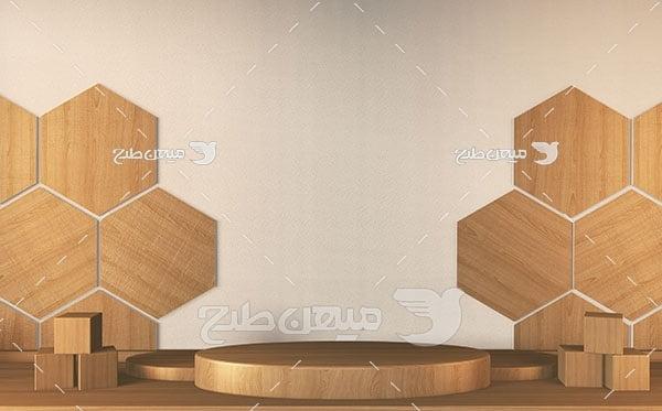 عکس بک گراند مدل مینیمال چوب شش ضلعی