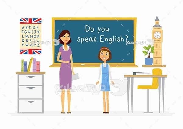 وکتور کلاس زبان انگلیسی در مدرسه