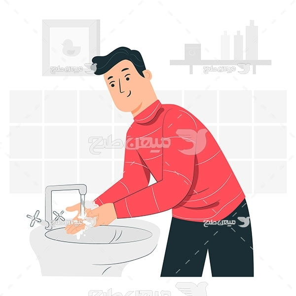 وکتور شستن دست در سرویس بهداشتی