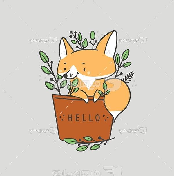 وکتور نقاشی روباه دانا