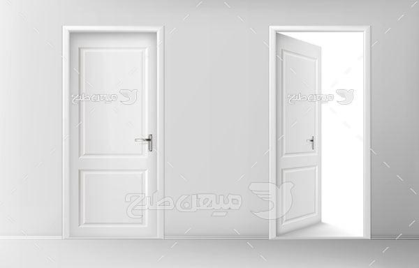 وکتور درب سفید چوبی اتاق